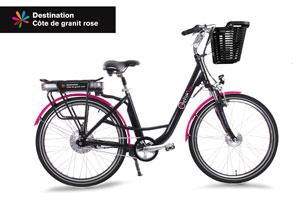 vélo à assistance électrique, noir et rose